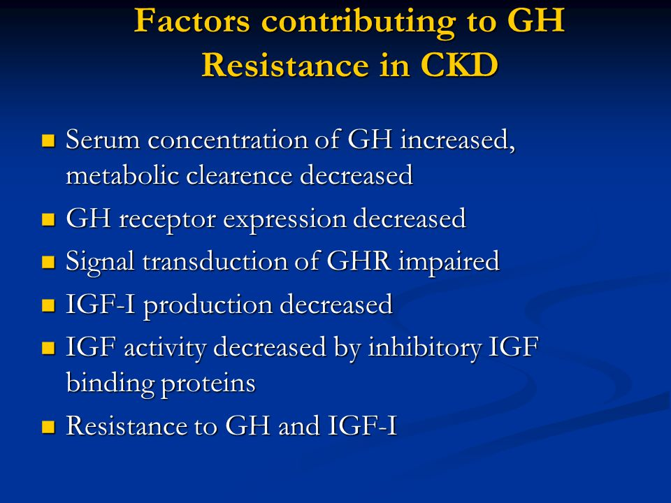 Factors contributing to GH Resistance in CKD