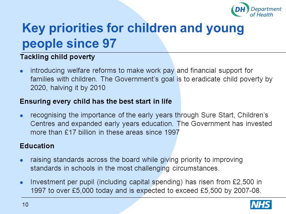 Key priorities for children and young people since 97