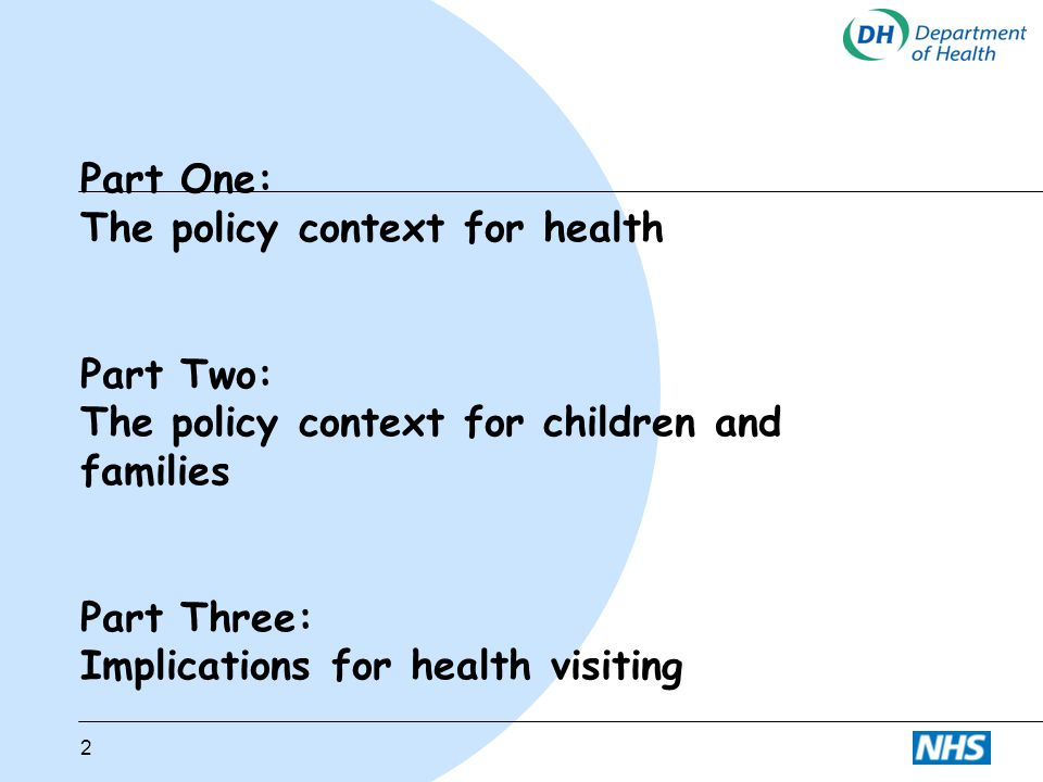 Part One: The policy context for health Part Two: The policy context for children and families Part Three: Implications for health visiting