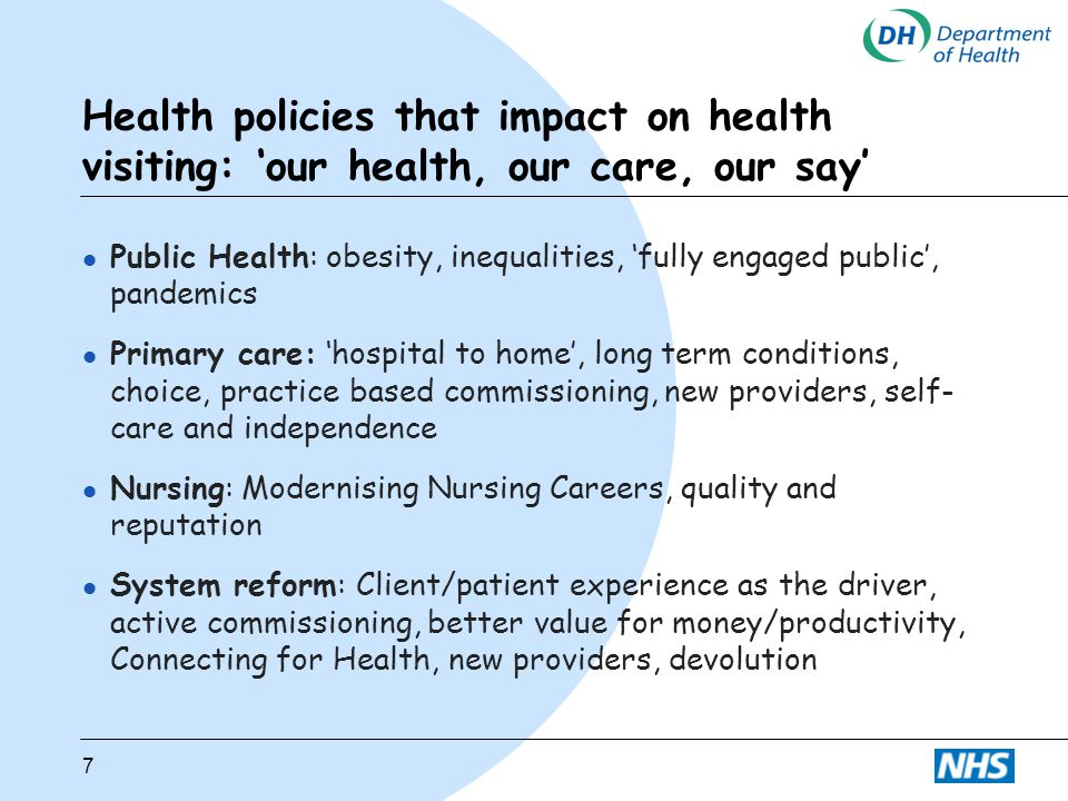 Health policies that impact on health visiting: 'our health, our care, our say'