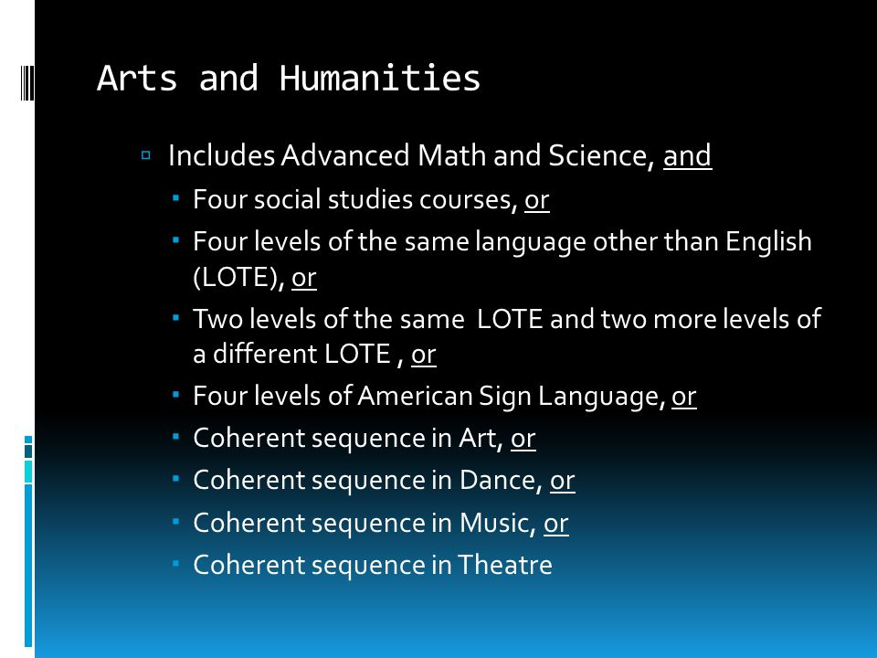 Arts and Humanities Includes Advanced Math and Science, and