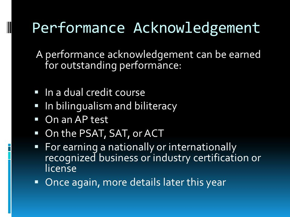 Performance Acknowledgement