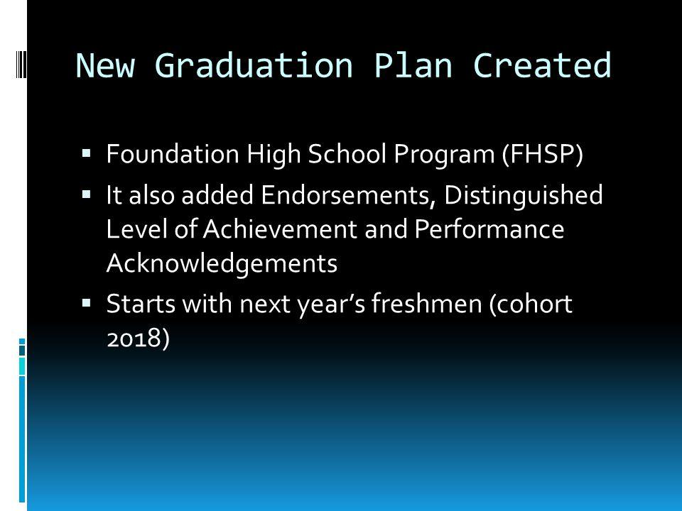 New Graduation Plan Created