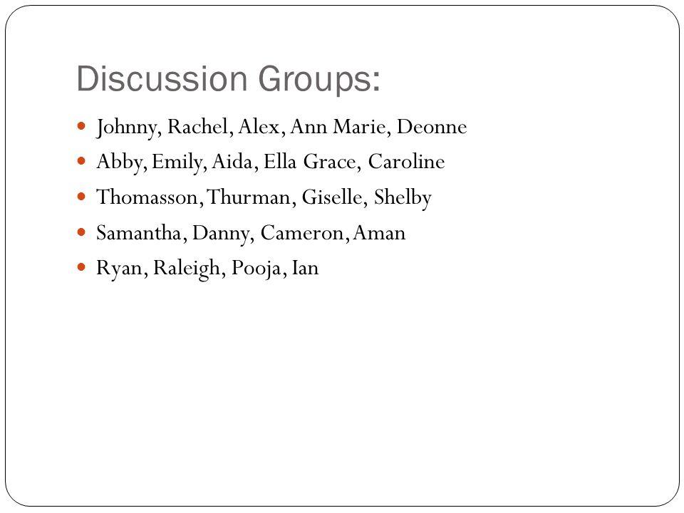 Discussion Groups: Johnny, Rachel, Alex, Ann Marie, Deonne
