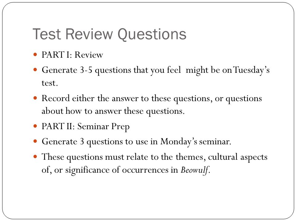 Test Review Questions PART I: Review