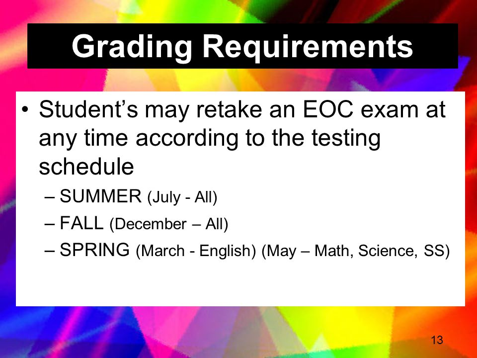 Grading Requirements Student's may retake an EOC exam at any time according to the testing schedule.