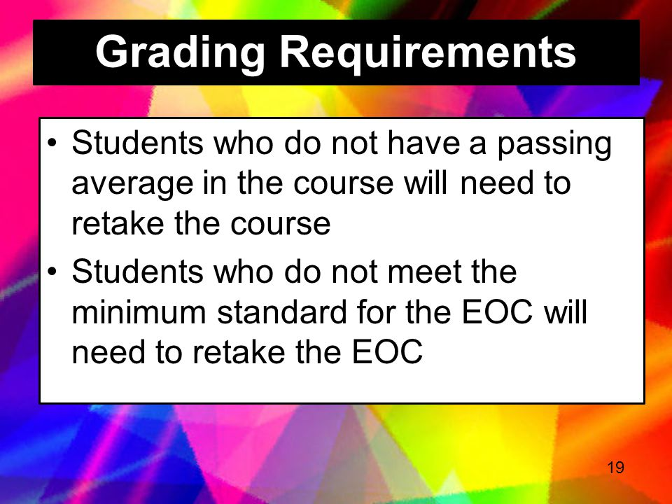 Grading Requirements Students who do not have a passing average in the course will need to retake the course.