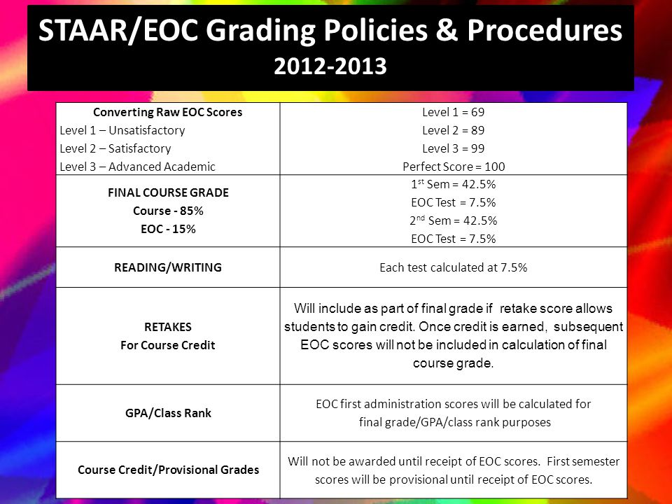 STAAR/EOC Grading Policies & Procedures 2012-2013