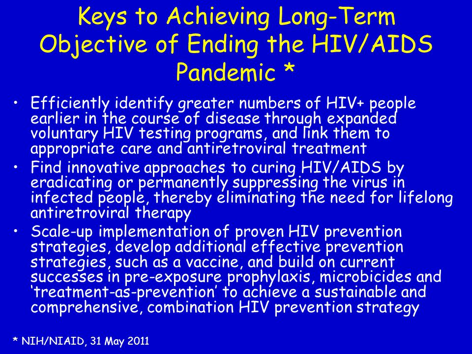 Keys to Achieving Long-Term Objective of Ending the HIV/AIDS Pandemic *