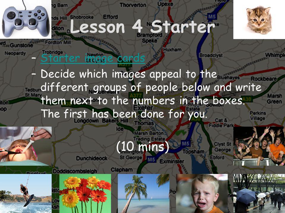 Lesson 4 Starter (10 mins) Starter image cards