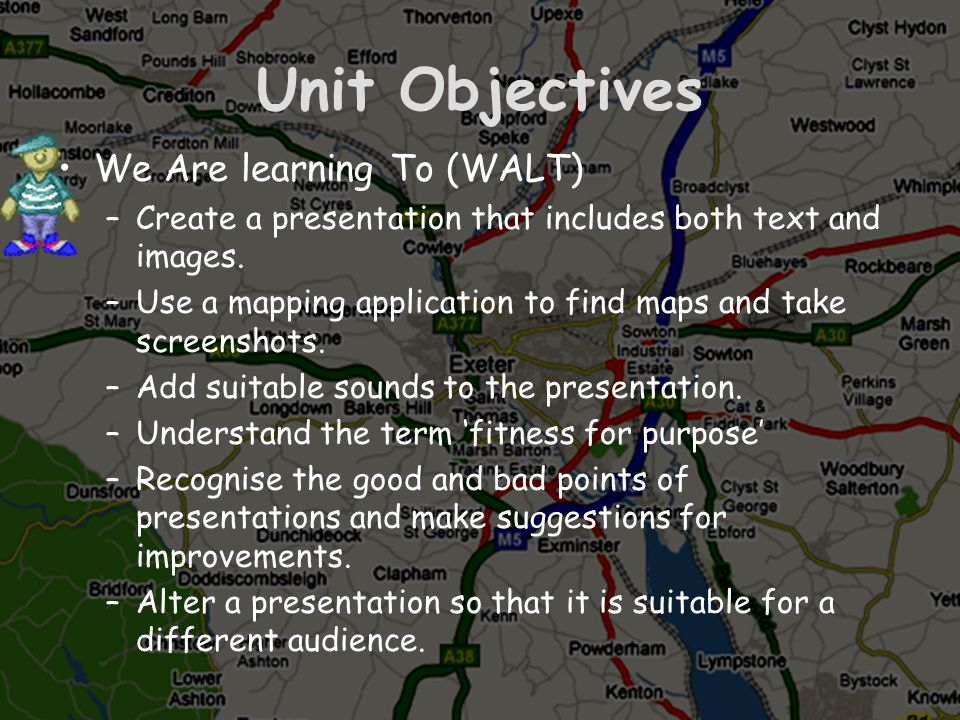 Unit Objectives We Are learning To (WALT)