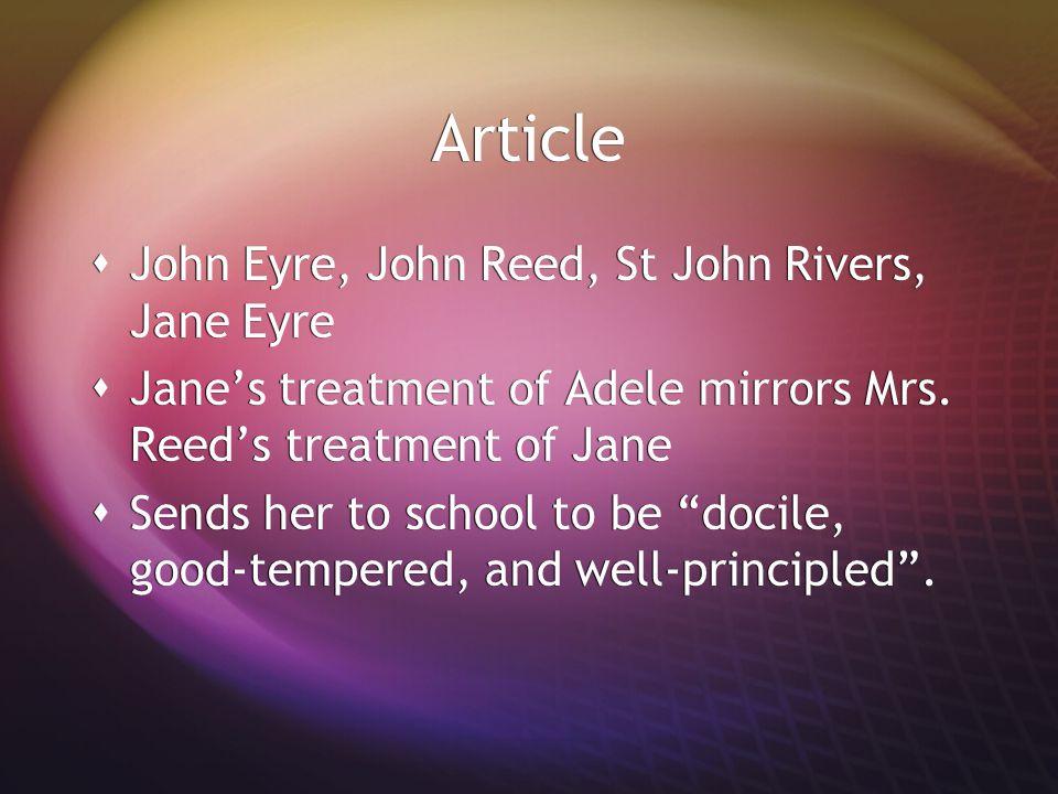 Article John Eyre, John Reed, St John Rivers, Jane Eyre