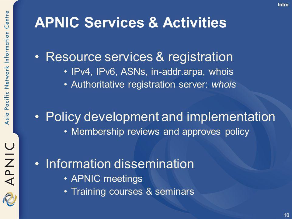 APNIC Services & Activities