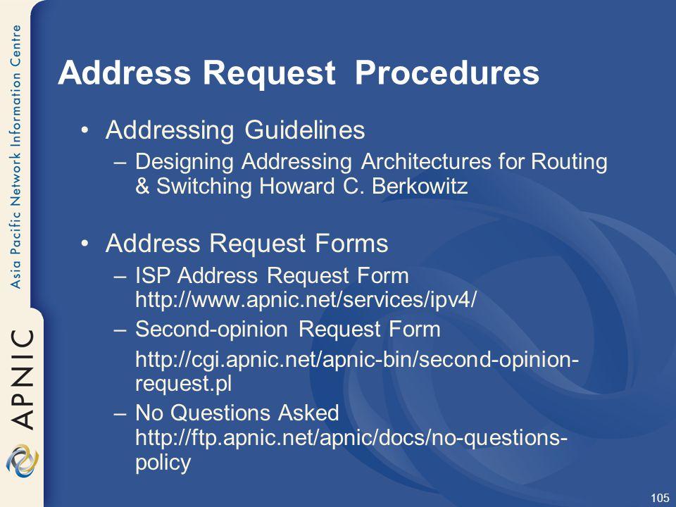 Address Request Procedures