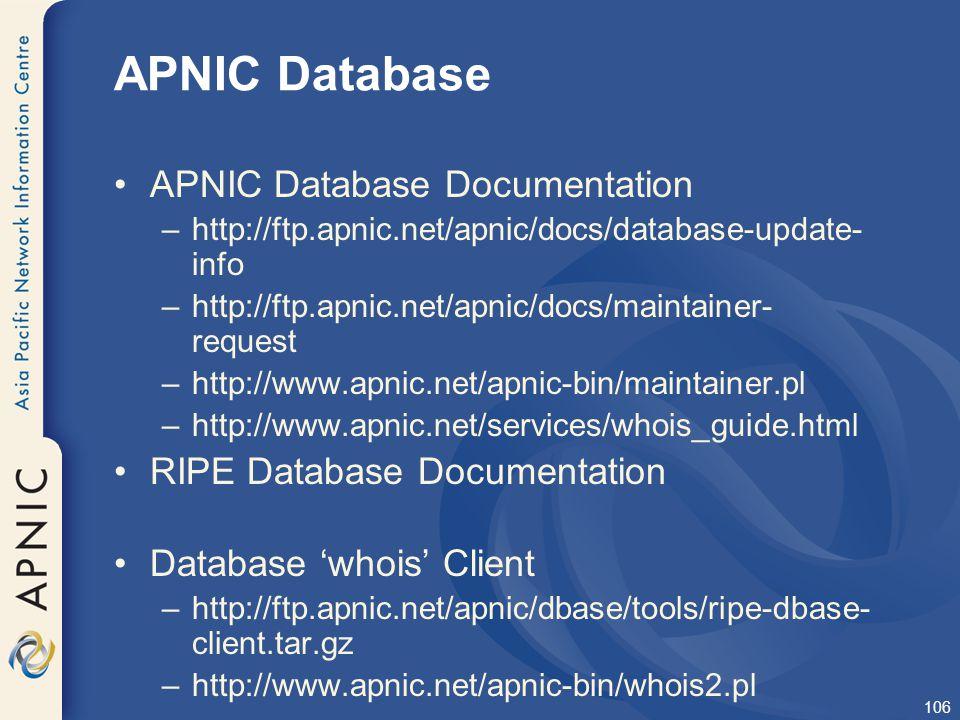 APNIC Database APNIC Database Documentation