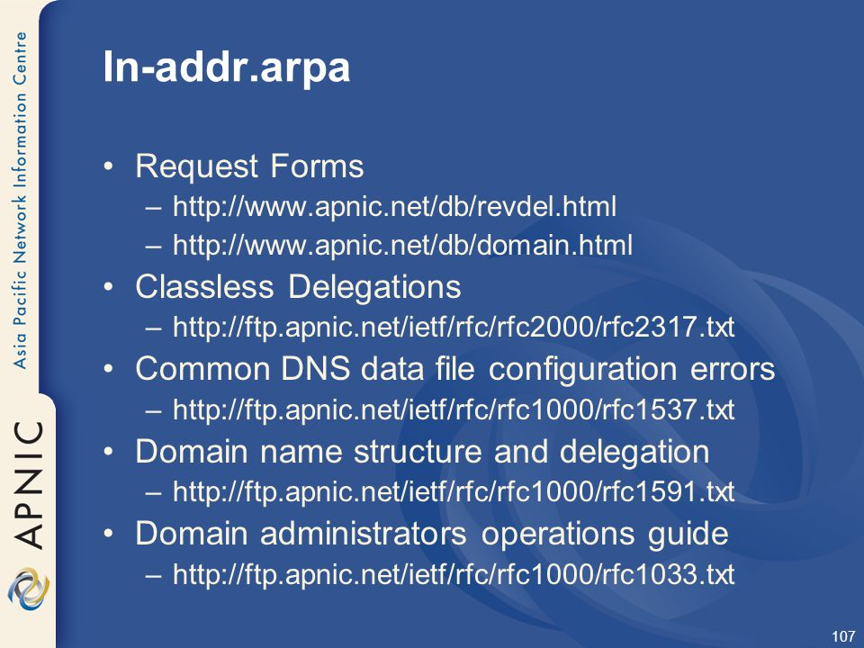 In-addr.arpa Request Forms Classless Delegations