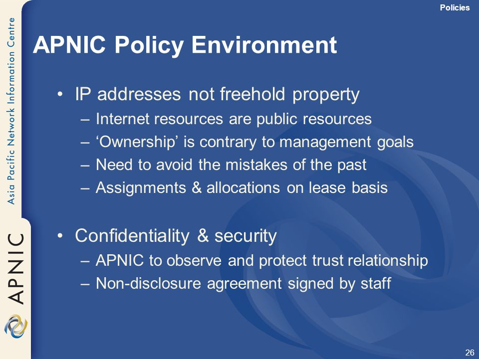 APNIC Policy Environment