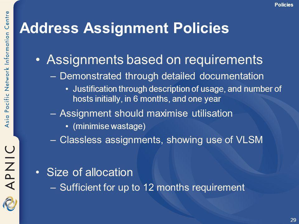 Address Assignment Policies
