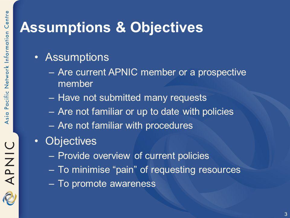 Assumptions & Objectives