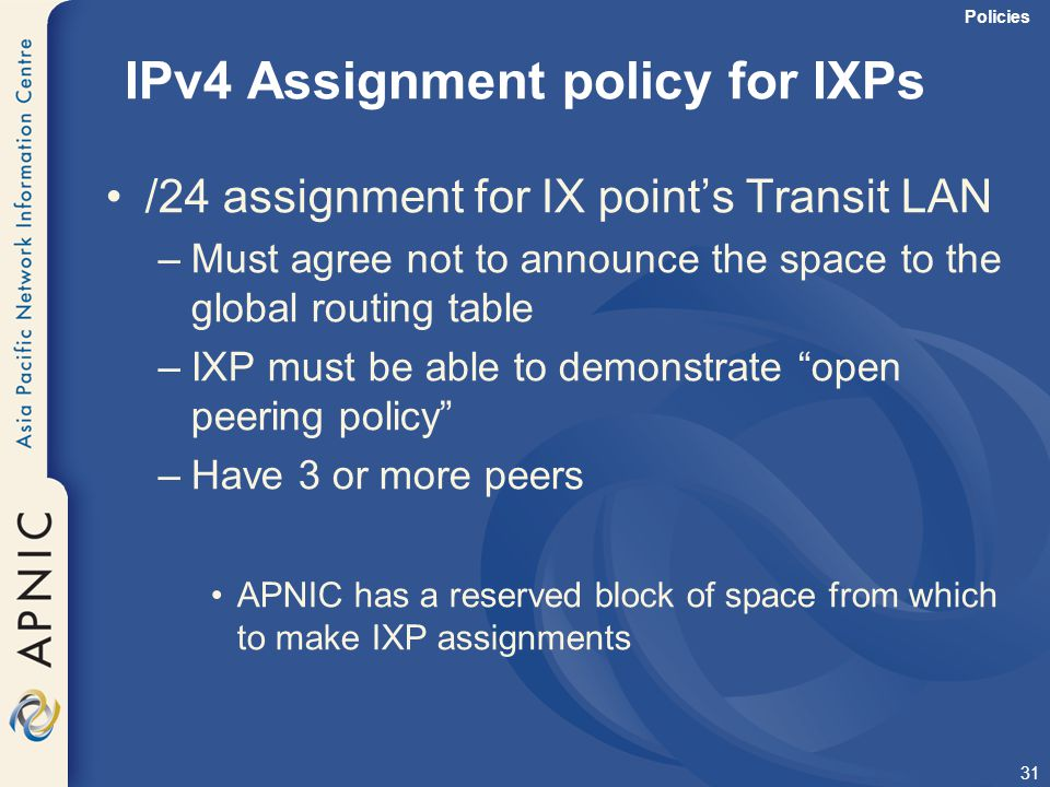 IPv4 Assignment policy for IXPs