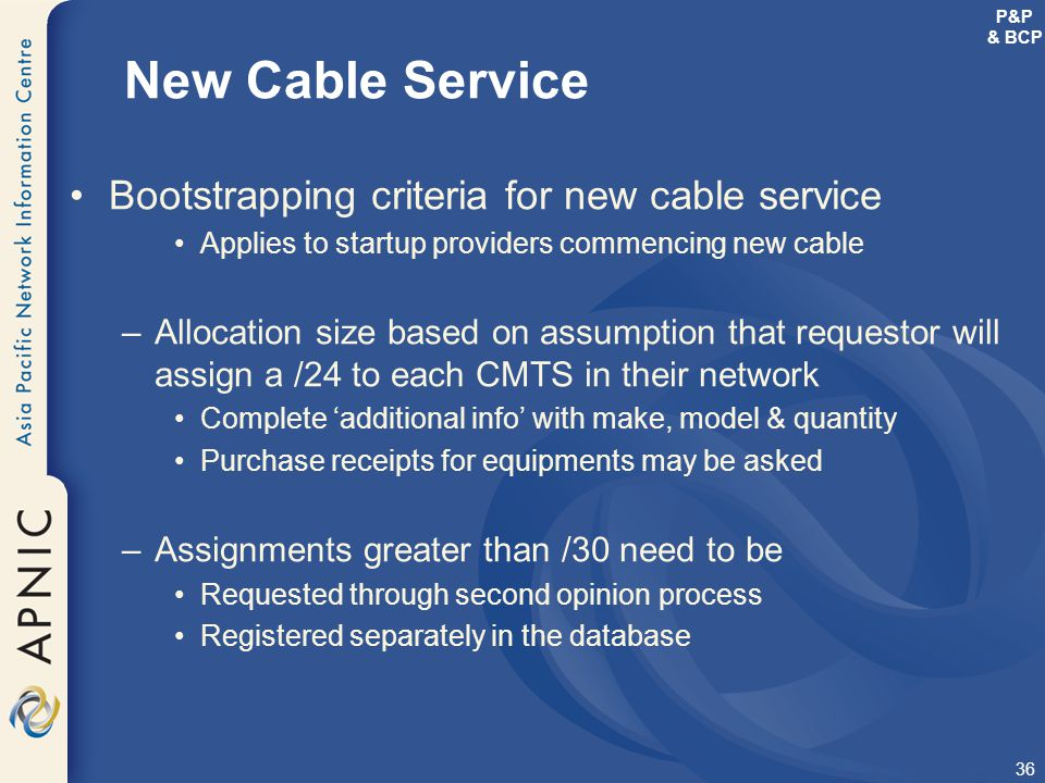 New Cable Service Bootstrapping criteria for new cable service