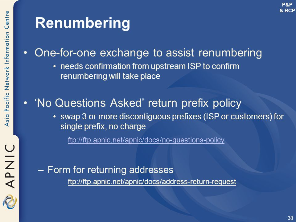 Renumbering One-for-one exchange to assist renumbering