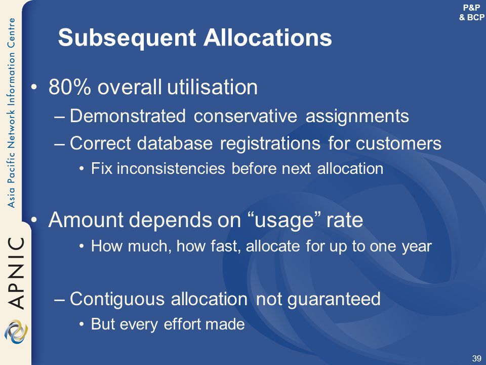 Subsequent Allocations