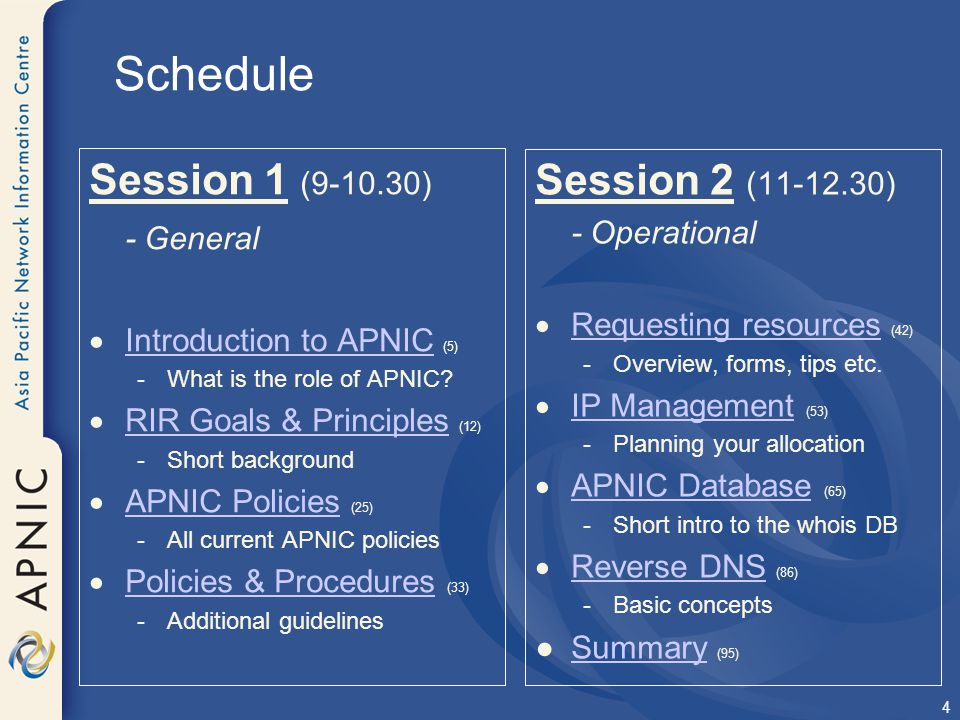 Schedule Session 1 (9-10.30) Session 2 (11-12.30) - General