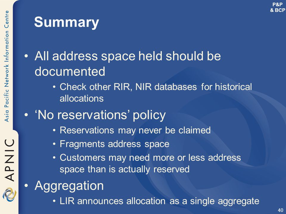 Summary All address space held should be documented