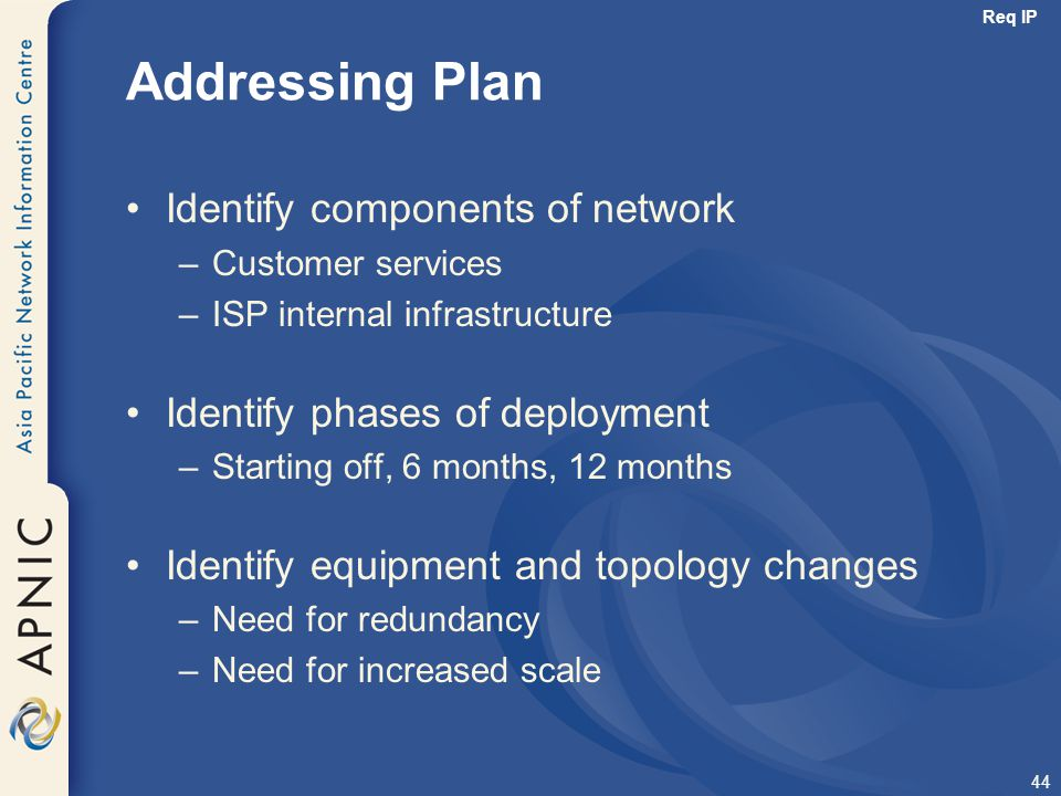 Addressing Plan Identify components of network