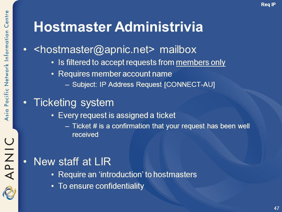 Hostmaster Administrivia