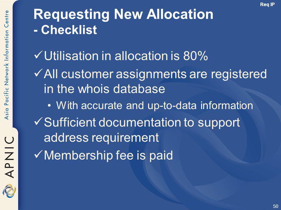 Requesting New Allocation - Checklist