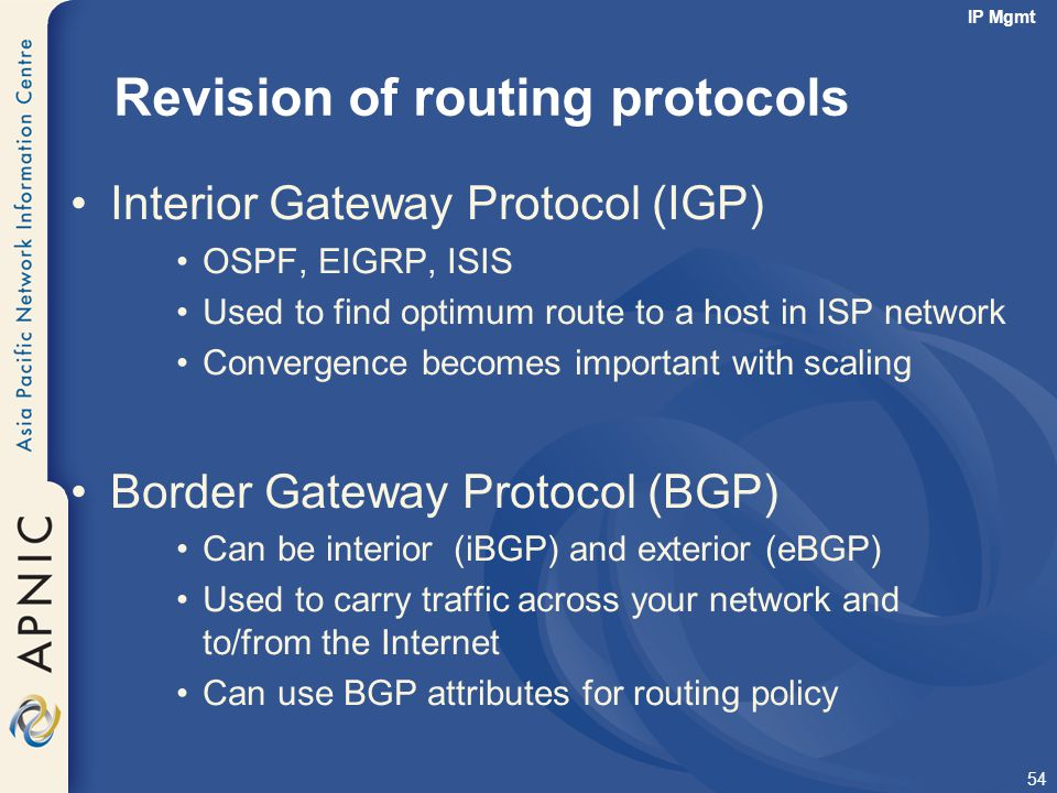 Revision of routing protocols