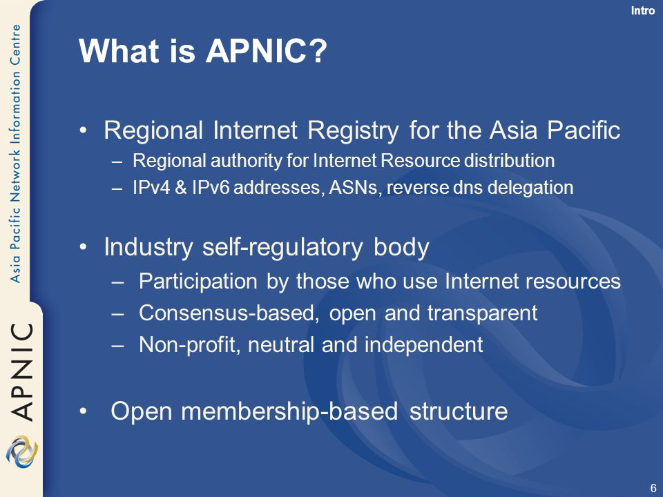 What is APNIC Regional Internet Registry for the Asia Pacific
