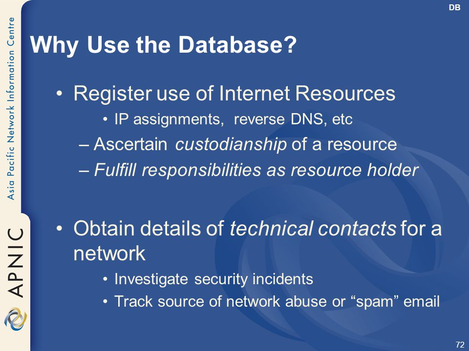 Why Use the Database Register use of Internet Resources