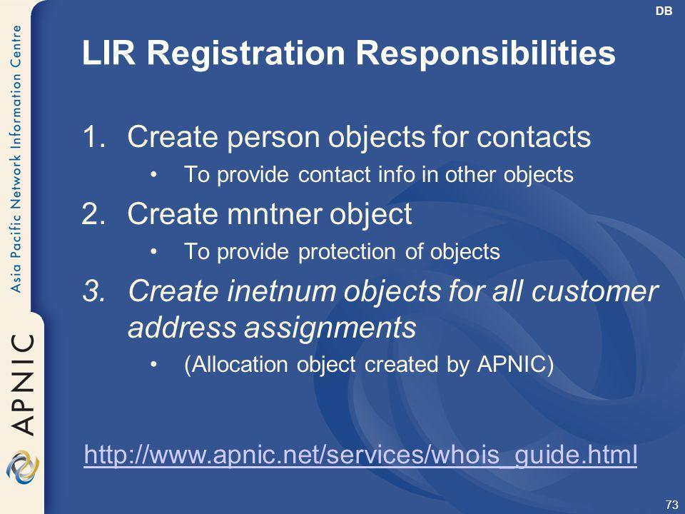 LIR Registration Responsibilities