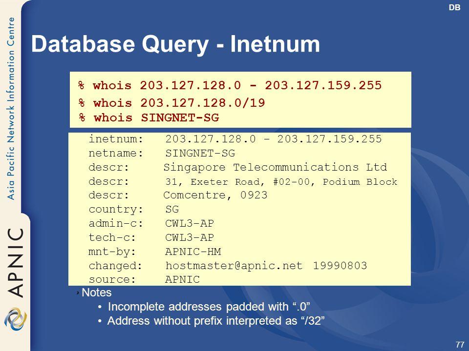 Database Query - Inetnum