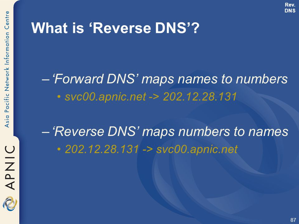 What is 'Reverse DNS' 'Forward DNS' maps names to numbers