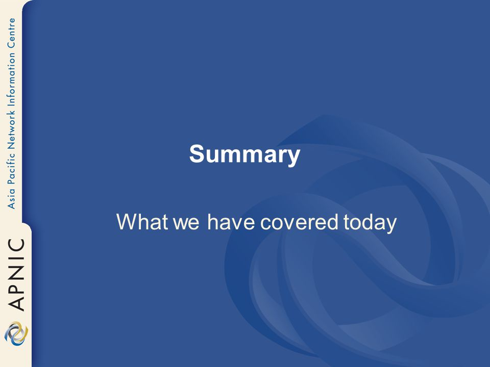 What we have covered today