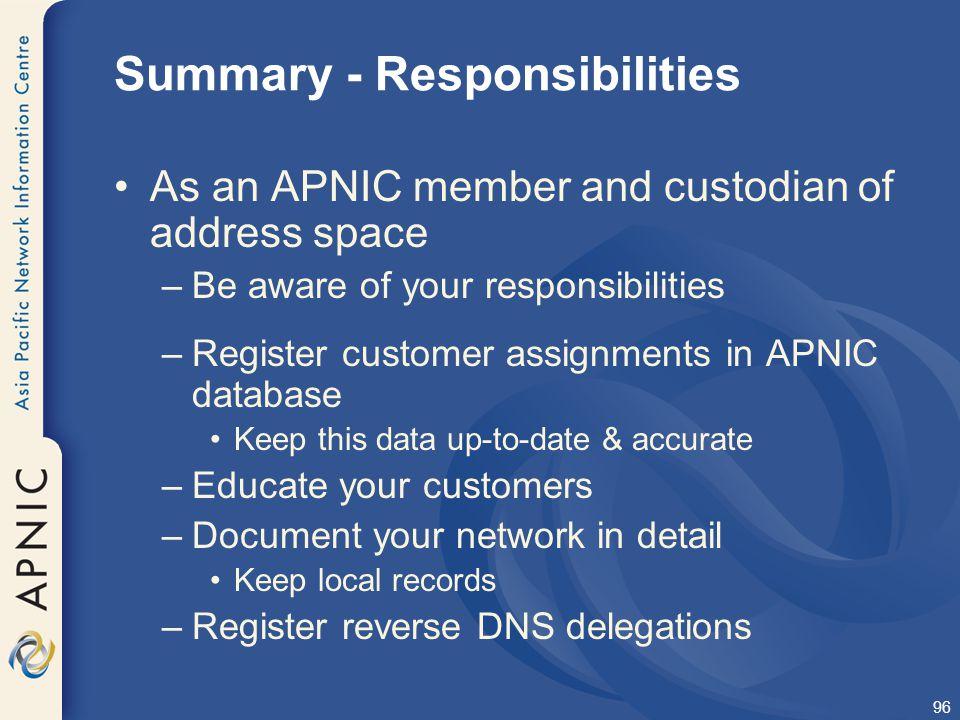 Summary - Responsibilities