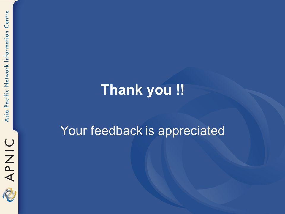Your feedback is appreciated
