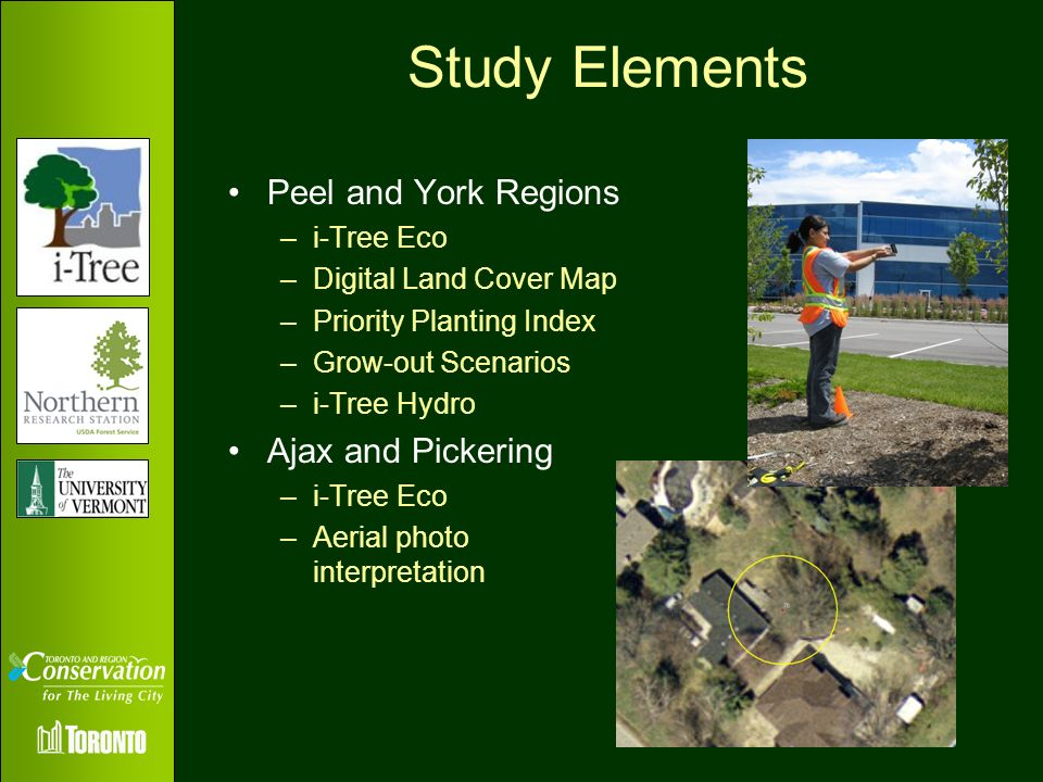 Study Elements Peel and York Regions Ajax and Pickering i-Tree Eco