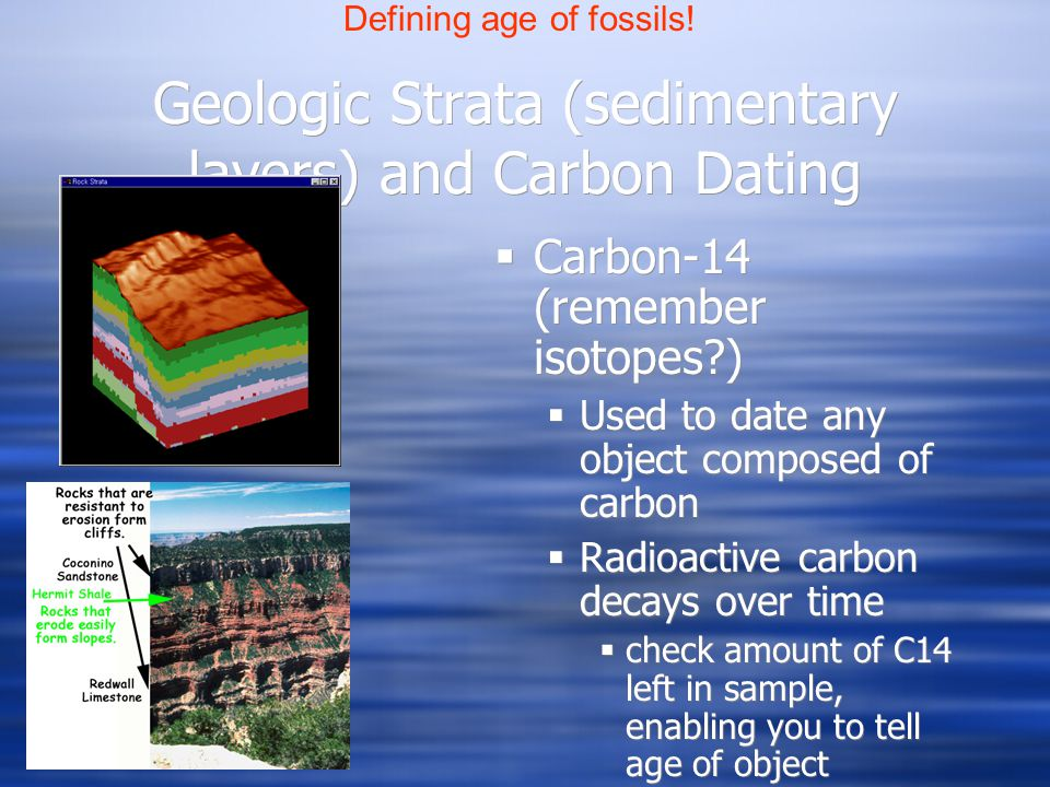 Geologic Strata (sedimentary layers) and Carbon Dating