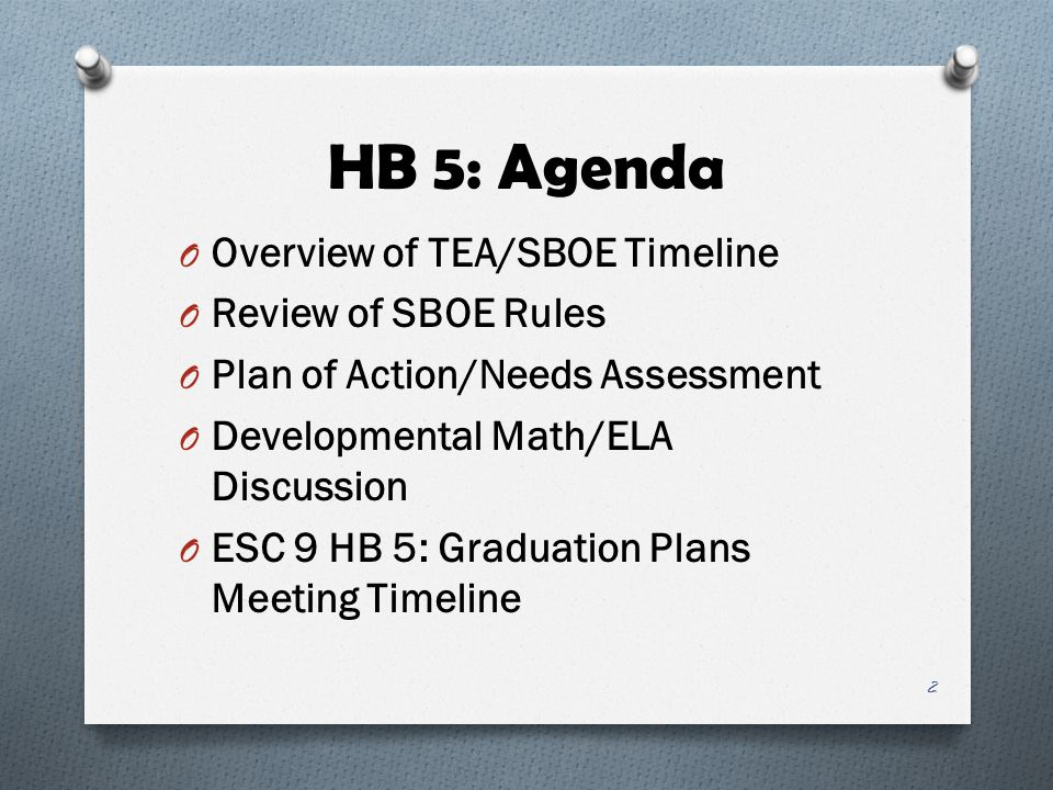 HB 5: Agenda Overview of TEA/SBOE Timeline Review of SBOE Rules