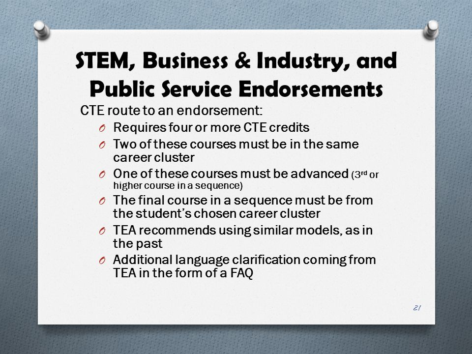 STEM, Business & Industry, and Public Service Endorsements