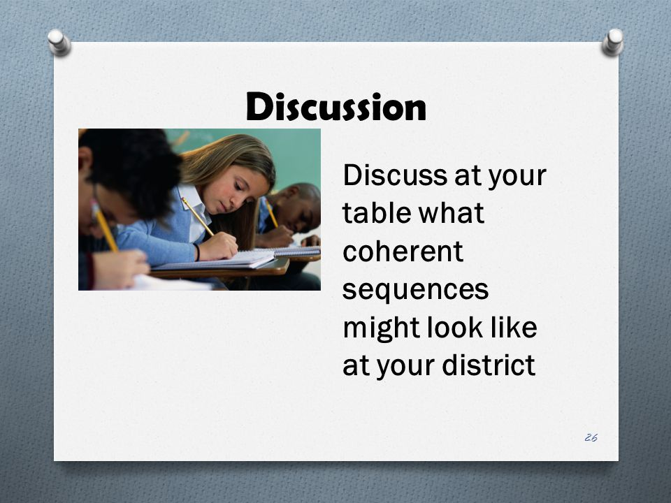 Discussion Discuss at your table what coherent sequences might look like at your district