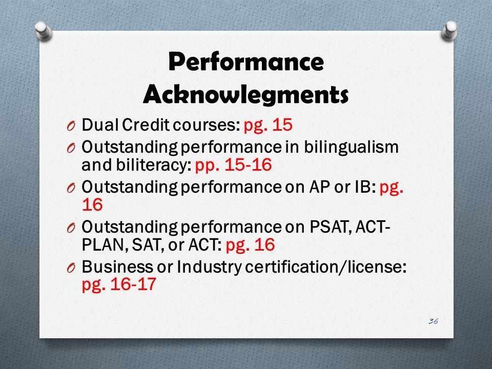 Performance Acknowlegments