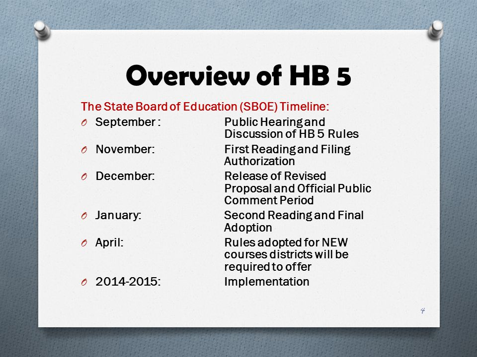 Overview of HB 5 The State Board of Education (SBOE) Timeline: