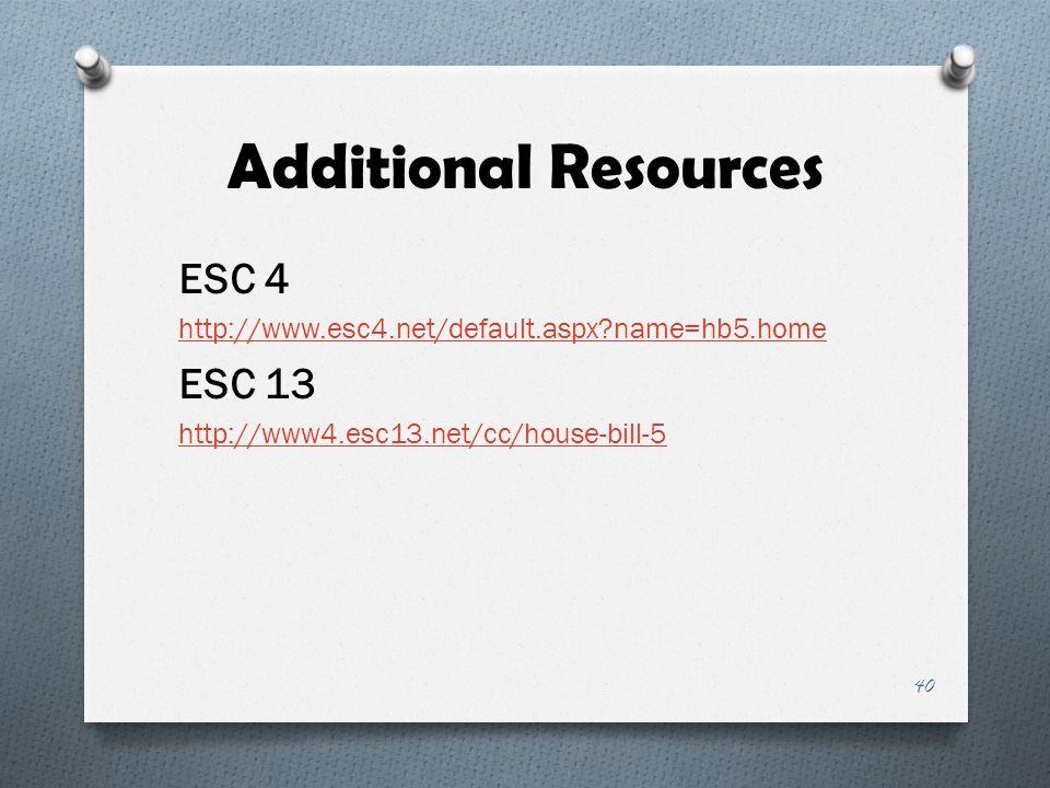 Additional Resources ESC 4 ESC 13