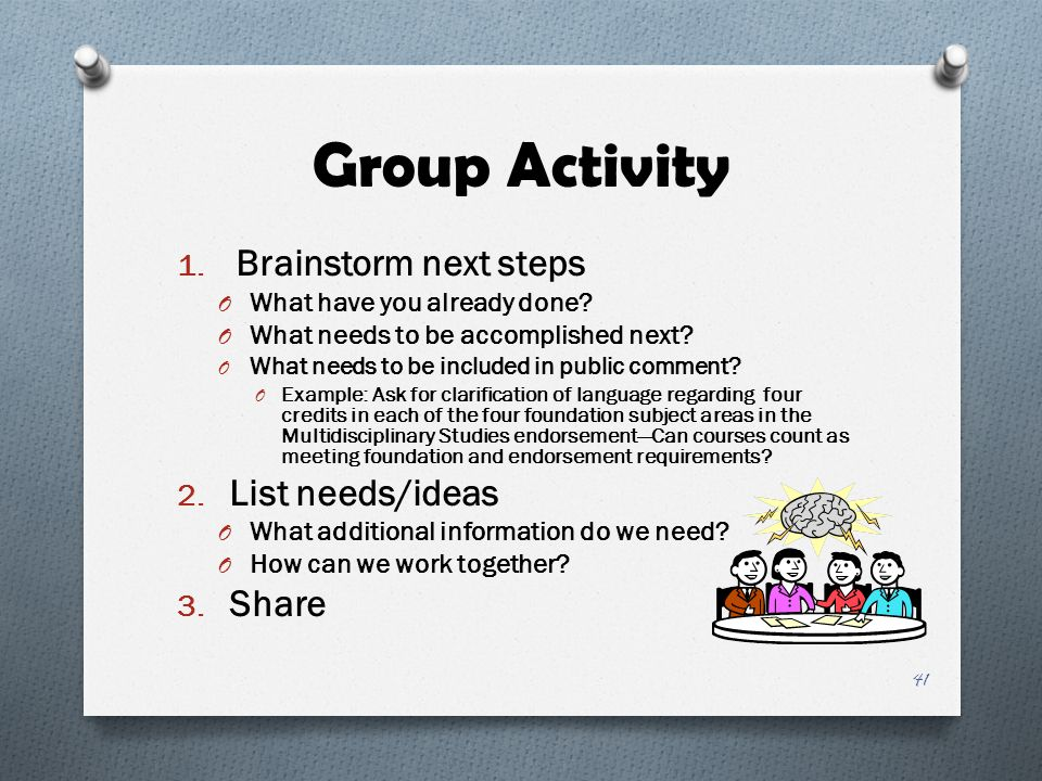 Group Activity Brainstorm next steps List needs/ideas Share